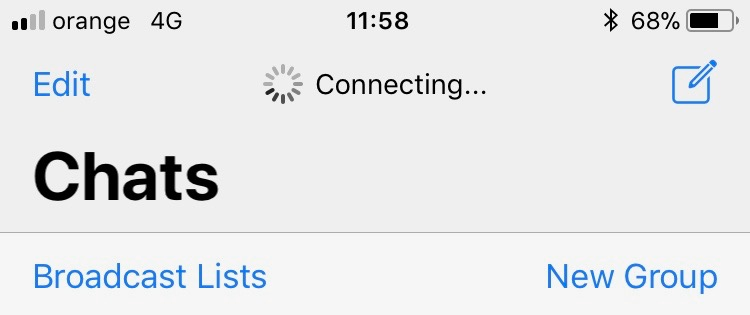 Whatsapp doesn't connect to its servers